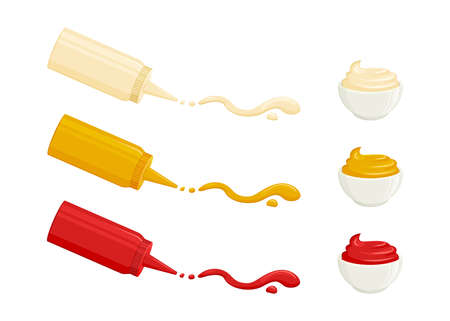 Sauces vector icons. Mayonnaise, mustard, tomato ketchup. Sauces in bottles and bowls. Various hot spice spilled strips, drops and spots. Food illustration