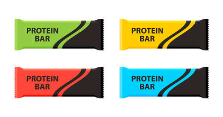 Protein bars with different flavors. Sport and fitness supplements. Vector illustration