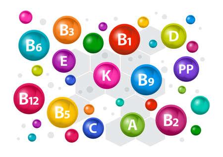Colorful multivitamin complex for health. Vitamin A, B1, B2, B3, B5, B6, B9, B12, C, D, E, K, PP. Vector illustration Illustration