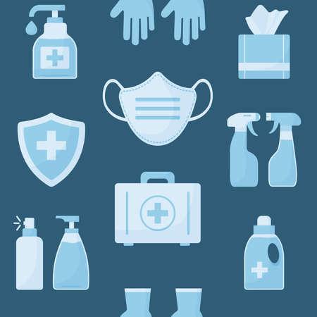 Medicine seamless pattern, blue objects on dark background. Disinfectant, hand sanitizer bottles, medical mask, antibacterial spray, gel, wipes, soap, gloves, first aid kit, medical insurance.Vector illustration
