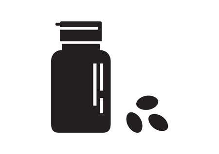Drugstore. Medicine bottle and pills. Medicament. Black and white capsules. Vector illustration