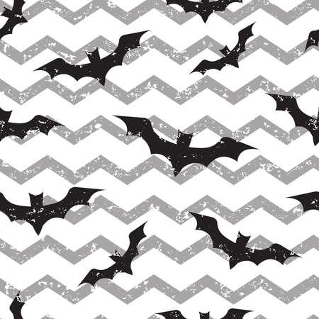 Halloween seamless pattern with bats on wave grunge print. Vector illustration