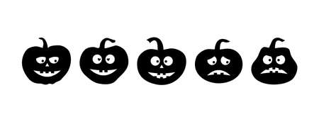 Black Halloween pumpkin icon set, scary face with different emotions. Vector illustration Illustration