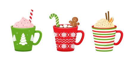 Christmas vector cups with drinks. Holiday mugs with hot chocolate, cocoa or coffee, and cream. Candy cane, cinnamon sticks, marshmallows. Winter illustration Illustration