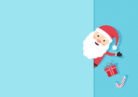 Christmas greeting card. Paper Santa Claus, cute cartoon character on blue polka dot background. Gift box and candy cane. Vector illustration