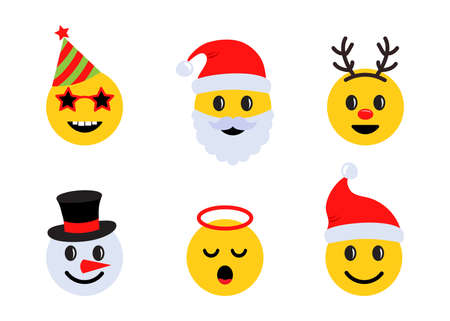 Christmas emoticons, holiday smile face icons with different emotions. Vector illustration