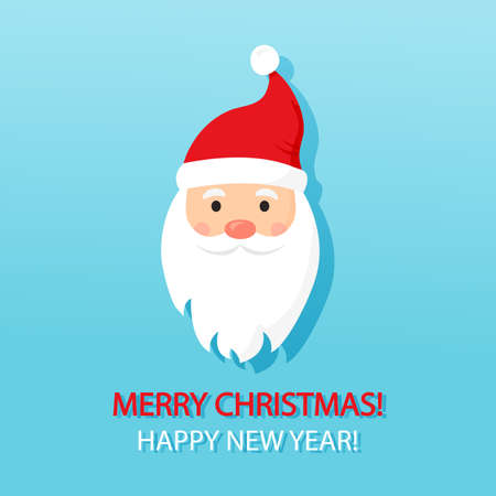 Christmas vector greeting card. Santa Claus, cute cartoon character on blue background. Winter illustration
