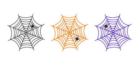 Halloween vector cobweb and spider. Colorful spider web set icon, creepy elements for holiday decoration. Hand drawn net. Horror illustration Illustration