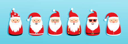 Christmas Santa Claus vector icons, cartoon character, red Santa hat, New year cute collection, holiday winter illustration on blue background 向量圖像