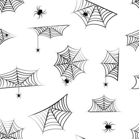 Halloween vector cobweb seamless pattern, hanging spider. Spider web background, creepy print for holiday decoration. Hand drawn net. Horror illustration 向量圖像