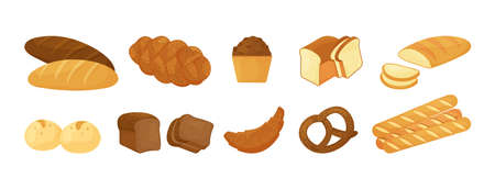 Cartoon vector bread, bakery pastry product isolated on white background. Food illustration 向量圖像