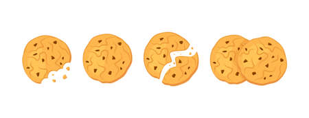 Chocolate oatmeal cookies. View from above. Vector illustration