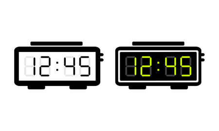 Digital alarm clock, electronic timer isolated on white background. Vector illustration