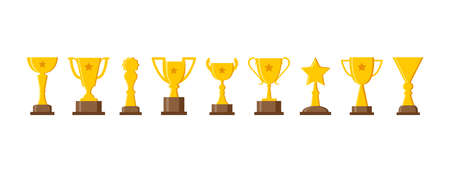 Sport trophy cup, golden award, champion icons isolated on white background. Vector illustration