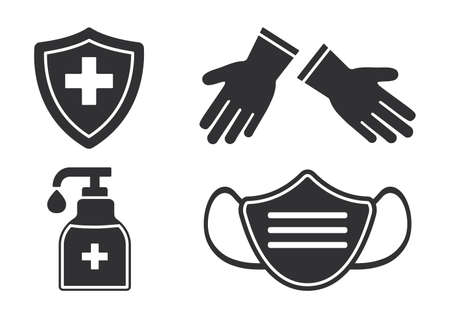 Disinfection vector set. Virus prevention icons. Face medical mask, gloves, hand sanitizer bottle. Black silhouetes on white background. Medical illustration 向量圖像