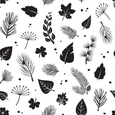 Leaf tree vector seamless pattern, plant print fir and pine cone, evergreen, leaves different shapes, black silhouettes isolated on white background. Nature illustration