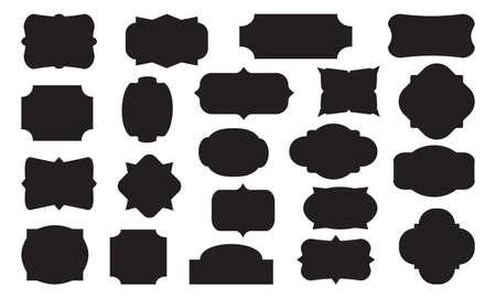 Retro labels. Collection blank decorative badges. Black different shapes vintage frames. Vector illustration