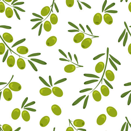 Olive vector seamless pattern with branch green olives and leaves, hand drawn. Organic illustration