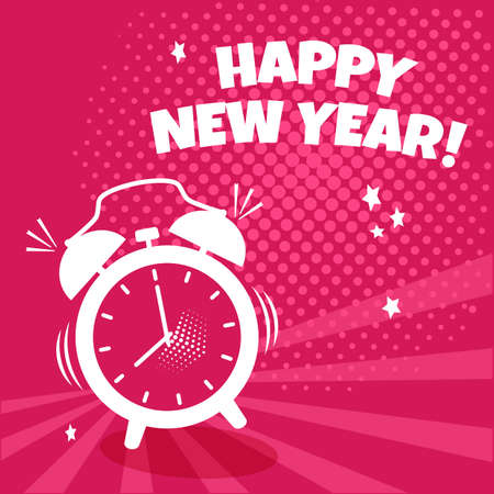 Happy New Year vector comic alarm clock on pink background. Comic sound effect, stars and halftone dots shadow in pop art style. Holiday illustration Ilustracja