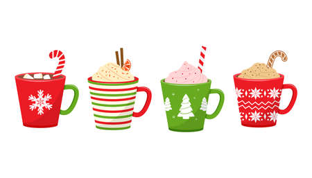 Christmas vector cups with drinks. Holiday mugs with hot chocolate, cocoa or coffee, and cream. Candy cane, cinnamon sticks, marshmallows. Winter illustration