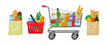 Grocery purchase vector set. Textile bag, hopping basket and trolley, paper package with products. Foods and drinks, vegetables and fruits. Supermarket illustration