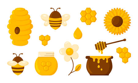 Honey vector icon set, honeycomb, bee, hive, hexagon, jar, pot, drop, syrup toast and flowers. Organic food design concept isolated on white background. Sweets illustration Ilustración de vector
