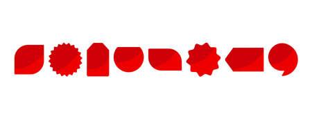 Red blank labels, advertisement sticker icons, badges set. Vector illustration