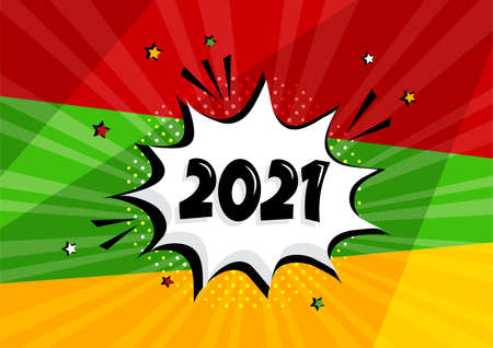 2021 New Year vector comic speech bubble on colorful background. Comic sound effects in pop art style. Holiday illustration Ilustracja