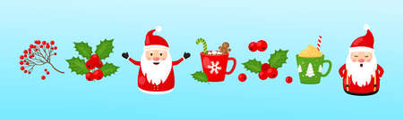 Christmas vector collection. Santa Claus, holly berry, rowan berry, mugs with hot chocolate, New Year set, holiday icon, winter illustration