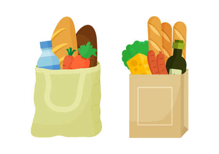 Grocery purchase vector set. Textile bag and paper package with products. Foods and drinks, vegetables and fruits. Supermarket illustration