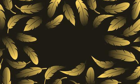 Golden glitter vector feather background. Text space on black banner. Luxury illustation