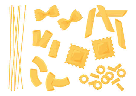 Pasta vector icon set. Different types italian paste. Spaghetti, ravioli, penne, farfalle, noodles, macaroni. Food illustration
