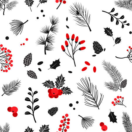 Christmas vector plants seamless pattern, holly berry, christmas tree, pine, leaves branches, holiday decoration, winter background. Vintage nature illustration Ilustracja