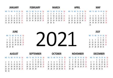 2021 year calendar. Week starts on Monday. Vector illustration Ilustracja
