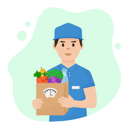 Foods vector delivery. Courier with full healthy nutrition box in hands. Grocery paper bag with scale. Balanced diet. Fresh vegetables, fruits and bottle water. Shopping illustration