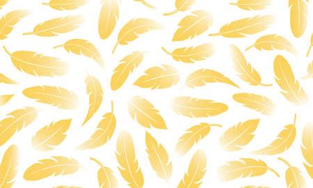 Golden glitter vector feather background. Luxury illustation