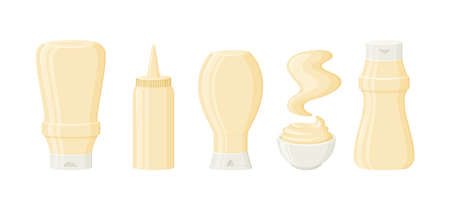 Mayonnaise sauce vector bottles, jar, bowl and stain. 3d cartoon mayo packaging, mock up. Condiment mayonnaise container icon set. Food illustration isolated on white background