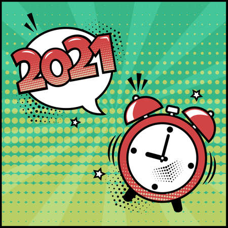 New Year 2021 vector comic alarm clock with speech bubble on green background. Comic sound effect, stars and halftone dots shadow in pop art style. Holiday illustration