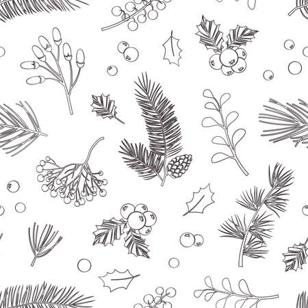 Christmas vector plants seamless pattern. Holly berry, christmas tree, pine, leaves branches, holiday decoration, winter vintage nature background