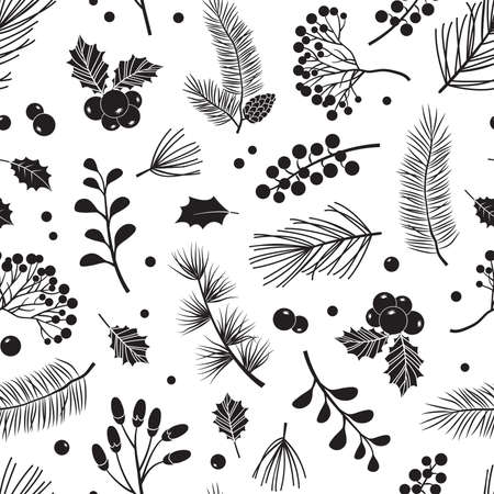 Christmas vector plants seamless pattern with holly berry, Christmas tree pine leaves with branches, holiday decoration, winter background. Black and white design. Vintage nature illustration