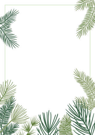 Christmas plant vector border with fir and pine branches, evergreen wreath and corners frames. Nature vintage card, foliage illustration