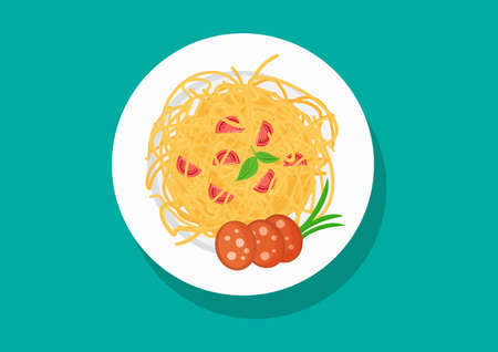 Vector plate of spaghetti with tomatoes and sausage, pasta dishes. Food illustration Stock Illustratie