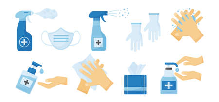 Disinfection vector. PPE icon. Hand hygiene. Set of hand sanitizer bottles, medical mask, washing gel, spray, wipes, liquid soap, gloves. Personal protective equipment.