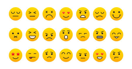 Smile face icons, emoji set isolated on white background, different emotions. Vector illustration