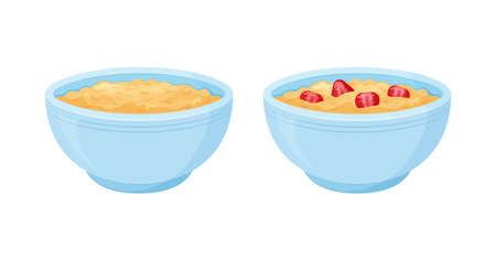 Oats bowl vector icon set. Oatmeal sweet with strawberry breakfast cup, oat grain porridge. Cartoon muesli, flake for healthy nutrition. Food illustration.