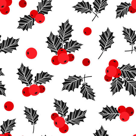 Holly berry Christmas vector seamless pattern, Christmas symbols isolated on white background. Red and black colors. Holiday illustration
