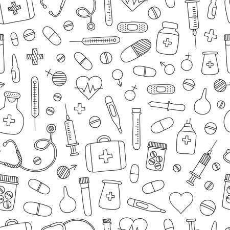 Medical vector seamless pattern hand drawn. Mobile medicine, medical research background. Black outline design. Hand drawn illustration