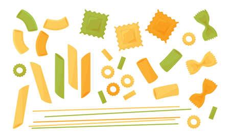 Pasta vector icon set. Colored different types of italian pasta. Spaghetti, ravioli, penne, farfalle, noodles, macaroni. Food illustration