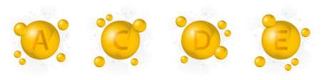 Vitamin A, C, D, E vector icon. Golden bubble on hexagon background. Healthcare illustration