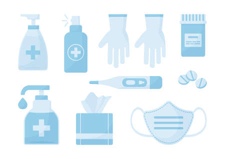 Medical vector set. Disinfectant, face mask, gloves, antibacterial spray, wipes, soap pills thermometer Healthcare illustration